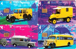 GERMANY - Set Of 4 Cards, Historische Postautos(E 09-10-11-12), Tirage 30000, 09/93, Used - Télécartes