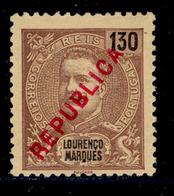 ! ! Lourenco Marques - 1917 King Carlos Local Republica 130 R - Af. 152 - No Gum - Lourenco Marques