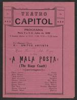 Macau Macao China Capitol Movie Theater 1939 Program The Stage Coach A Mala Posta John Wayne - Programmes