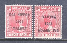 JAPANESE  OCCUP.  PERAK  N 19, N 19 A   *  W/ INVERT - Great Britain (former Colonies & Protectorates)