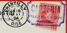 """Sur CPA Corrida De Toros Espana Cachet De Départ """"CARTERIA VILLAMANRIQUE"""" Destination 60 Chantilly France - Variétés & Curiosités"""