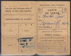Carte De Tabac 1946, Débit N°603 Ste Sévère (Charente), état Voir Scans. - Fiscaux