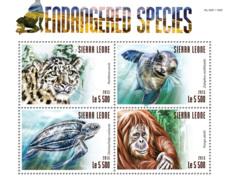 Sierra Leone 2015 Fauna  Endangered Species , Snow Leopard  ,turtle - Sierra Leone (1961-...)