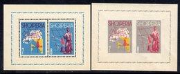 ALBANIA - 1962 TOURIST PUBLICITY MAPS & SCULPTURE ART PERF & IMPERF BLOCKS MICHEL B13 B14 FINE MNH ** - Albania