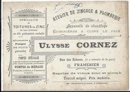 Frameries - Atelier De Zingage & Plomberie Ulysse CORNEZ - Carte Publicitaire (type Bristol) - Frameries
