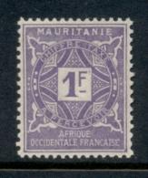 Mauritania 1914 Postage Dues 1f MLH - Mauritania (1906-1944)