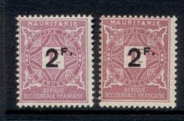 Mauritania 1927 Postage Dues Surch 2f 2x Shades MLH - Mauritania (1906-1944)