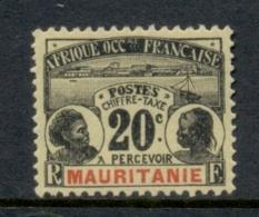 Mauritania 1906-07 Postage Dues 20c MLH - Mauritania (1906-1944)