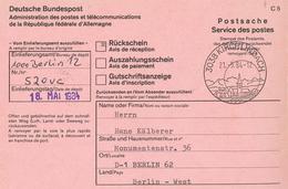 Kirchlindach Rückschein 1984 3038 Berlin 12 - BRD