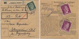 DR - 2x40+5 Pfg. AH, Wertpaketkarte Heidenau (Sachs.) - Etterzhausen 1943 - Briefe U. Dokumente