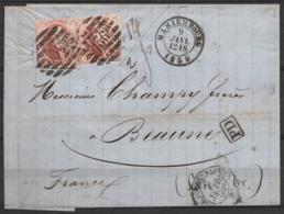 """L. Affr. N°12A En Paire P136 Càd MARIEMBOURG /9 JANV 1859 Pour BEAUNE - [PD] - Càd """"BELG. A ERQUELINNES"""" (au Dos: Càd """"F - 1858-1862 Médaillons (9/12)"""