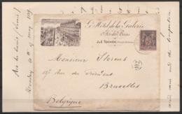 LAC Entête Hôtel De La Galerie Affr.N°97 Càd AIX-LES-BAINS /20 Mai 1889 Pour BRUXELLES - 1876-1898 Sage (Type II)