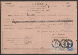 """Quittance (collée Sur Carton) Affr. N°31+35+36 Càd """"BRUXELLES (R.CHANCELLERIE)/16 OCTO 1883 Pour PERUWELZ - 1869-1883 Leopold II"""