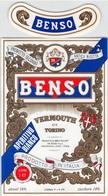 """07756 """" VERMOUTH DI TORINO APERITIVO BIANCO - BENSO SPA - CASTAGNOLE LANZE (AT)"""" ETICH. ORIG. - Etichette"""