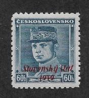 Slovakia 1939,Gen Štefánik 60h Overprinted Scott # 11,VF Mint Hinged OG (MB-9) - Unused Stamps