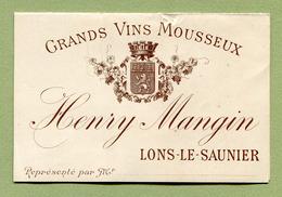 """LONS-LE-SAUNIER  : """" VINS MOUSSEUX - Henry MANGIN """"  Petit Dépliant Du XIXème - France"""