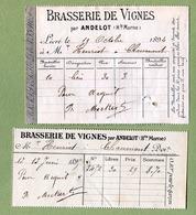 """"""" BRASSERIE DE VIGNES """" Haute-Marne  (1894 /1895)  Lot De 2 Facturettes - 1800 – 1899"""