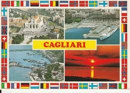 CARTOLINA: CAGLIARI (VEDUTINE) - F/G - COLORI - VIAGGIATA  - LEGGI - Cagliari