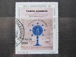 *ITALIA* USATO 1998 - 150° REGIE PATENTI VALDESI - SASSONE 2392 - LUSSO/FIOR DI STAMPA - 1991-00: Usati