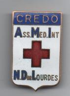 Broche  Cloisonnée émaillée  Ass  Med Int  Credo Lourdes  43 Mm X 26 Mm - Broches