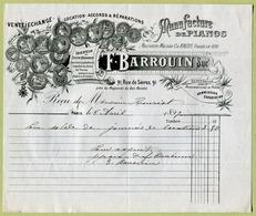 """PARIS  (1897) : """" MANUFACTURE DE PIANOS - F. BARROUIN, 91 Rue De Sèvres """" - France"""