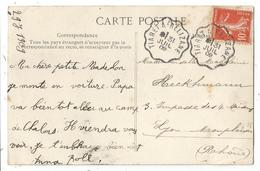 SEMEUSE 10C CONVOYEUR LIGNE TIARET A RELIZANE 31 JUIL 1909 CARTE TIARET ALGERIE - Marcophilie (Lettres)