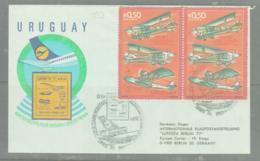 URUGUAY - 1977- LUPOSTA EXHIBITION PAIR ON  ILLUSTRATED FLIGHT COVER - Uruguay