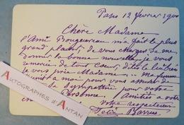 Félix-Joseph BARRIAS 1900 Peintre & Illustrateur Né à Paris - Carte Lettre Autographe - William Bouguereau - L.A.S - Autographs