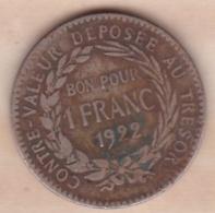 COLONIE DE LA MARTINIQUE . BON POUR 1 FRANC 1922 - Colonies