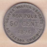 ILE DE LA REUNION. Bon Pour 50 CENTIMES 1896. Cupro Nickel - Reunión