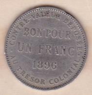 ILE DE LA REUNION. Bon Pour 1 Franc 1896. Cupro Nickel - Réunion