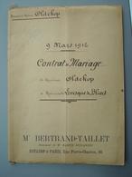 1912 Contrat De Mariage OLDEKOP  Levesque De BLIVES Manuscit De 20 Pages Mte BERTYRAND TAILLET - Mariage