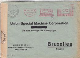 Allemagne - Empire - Lettre De 1943 ° - Obllt Stuttgart - Exp Vers Bruxelles - EMA - Empreintes Machines - Avec Censure - Allemagne