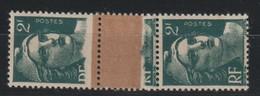 YT 713 **/* 2F Vert Marianne De Gandon, Bande Verticale De 3 TP, Impression Sur Raccord, Un Ex *, R, SUP - 1945-54 Marianne De Gandon