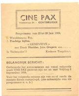 Ciné  Bioscoop Programma Cinema Pax - Gentbrugge - Genevieve 1954 - Publicité Cinématographique