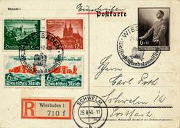 WIESBADEN - 1940 , ES KANN NUR EINER SIEGEN UND DAS SIND WIR  -  R-Ganzsache Nach Schwelm - Briefe U. Dokumente