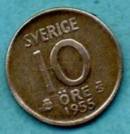 A/  SUEDE / SWEDEN  10 ORE 1955 Silver  KM823 - Suède
