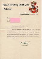 ALFELD / Leine - 1942 , Kreisverwaltung , Landrat - Nachricht Zum HELDENTODE Eine Soldaten - Historical Documents