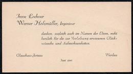B9835 - Visitenkarte Irene Lochner Werner Holzmüller Ingenieur - Glauchau Werdau - Visitenkarten