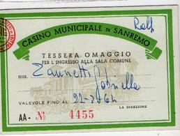 Tessera  Di Ingresso Al Casino Municipale Di San Remo - Biglietti D'ingresso