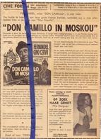 Org. Knipsel Krant - Ciné Cinema Forum Brugge - Don Camilloin Moskou - Fernandel 1971 - Vieux Papiers