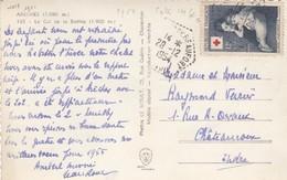 SEUL SUR CARTE . N° 1006 CROIX ROUGE 1954 ARECHES DE BEAUFORT SAVOIE - Postmark Collection (Covers)