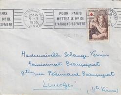 SEUL SUR LETTRE . N° 1007 CROIX ROUGE 1954 - 1921-1960: Periodo Moderno