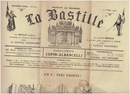 La BASTILLE Journal Antimaçonnique N° 283 Du 25 Avril 1908 ( COPIN ALBANCELLI Directeur) - Newspapers