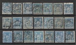 Timbre De FRANCE . N°90. 15cBLEU. LOT DE 21 TIMBRES. POUR ETUDE. OBLI. COULEUR. - 1876-1898 Sage (Type II)