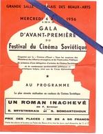 Ciné  Bioscoop Programma Programme - Festival Cinéma Sovietique - Palais Des Beaux Arts 1956 - Cinemania