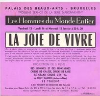 Ciné  Film Programma Programme - La Joie De Vivre  - Palais Des Beaux Arts 1956 - Merchandising