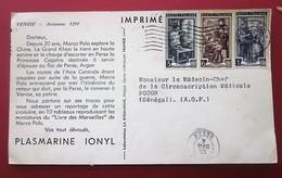 Imprimé Adressé Docteur Médecin Carte Postale Publicitaire Marco Polo Laboratoire Plasmarine-Italie Pr Sénégal AOF - Otros
