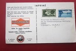 Imprimé Adressé Docteur Médecin Carte Postale Publicitaire Chasse éléphant Laboratoire Plasmarine-Viêt-Nam P Sénégal AOF - Vietnam
