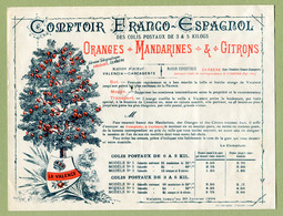 "CERBERE  /  VALENCE  : "" COMPTOIR FRANCO-ESPAGNOL : Oranges - Mandarines - Citrons ""  1894 - 1800 – 1899"